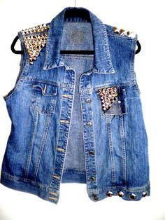 a studded demin vest, possibly a DIY?