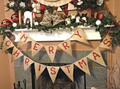 Merry Christmas Banner Christmas Burlap Banner by sherisewsweet