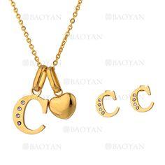 """juego collar y aretes de letra""""C""""brillante en acero dorado inoxidable -SSNEG1093678"""
