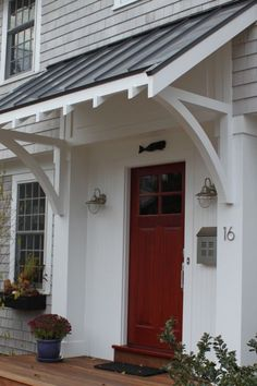 Front Doors: Gorgeous Awnings For Front Door For Modern Ideas. Images Of Front Door Awnings. Copper Awning Over Front Door. Black Awning Over Front Door. Canvas Awnings For Front Door. Wood Awning Over Front Door. Side Porch, Side Door, The Doors, Back Doors, Front Door Overhang, Roof Overhang, Deck Overhang Ideas, Black Metal Roof, Metal Roof Colors