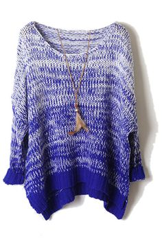 Asymmetric Gradient Blue Top, Love the blue fading and the feather necklace is a cute addition/extra.