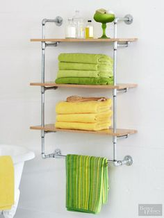 Make your own custom shelving unit out of galvanized-steel pipes and wooden shelves. This do-it-yourself shelving project will give any space a cool, industrial vibe. Plus, supplies can be found at any home improvement store.