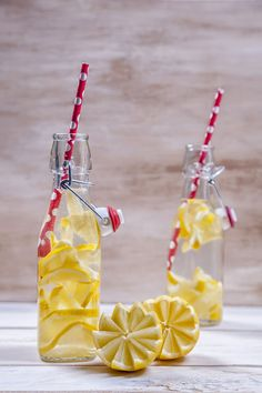 Detox. Cut lemon wedges and place inside glass water bottle. Make ahead and have ready for dinner time. Healthy and would look so pretty on top of dinning table instead of big juice/coke plastic bottles.