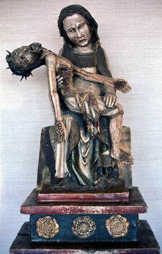 "Virgin with the Dead Christ (Rottgen Pieta), from the Rhineland, Germany, ca. 1300-1325. Painted wood, 2' 10 1/2"" high. Rheinisches Landemuseum, Bonn. Medieval Life, Medieval Art, Ap Art History 250, Muse Art, Painting On Wood, Gods Love, Madonna, Renaissance, Folk Art"