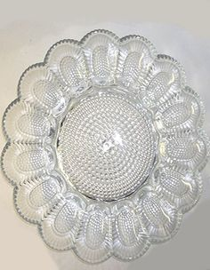 Pressed glass egg plate