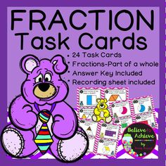 Fraction Task Cards-Parts of a Whole  This colorful set of 24 task cards with fraction questions with pictures representing parts of a whole is a wonderful addition to your lessons! I've included a recording sheet and answer key, too! *********************************************************************  These activities would work for third graders, high achieving second graders or fourth graders who could use some review!