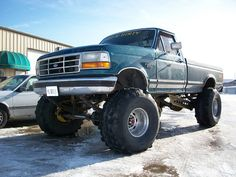 Check out our great collection of lifted ford trucks. Whether you like or our collection of raised Ford truck pictures will blow your mind. Ford Diesel, Diesel Trucks, F150 Truck, Lifted Ford Trucks, Pickup Trucks, Trucks Only, Cool Trucks, Big Trucks, Ford Girl