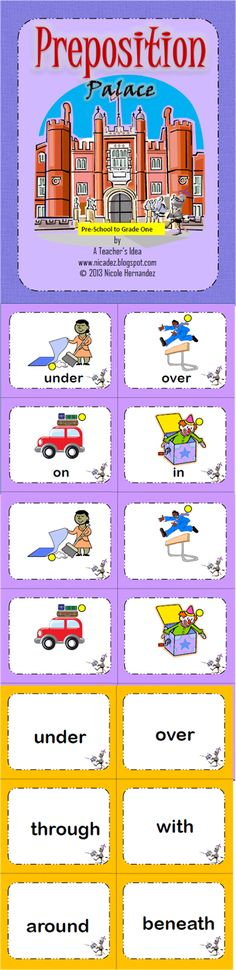 A Teacher's Idea: This is a wonderful resource for both preschool and early elementary teachers. The most common prepositions are included with picture illustrations. The set contains the following:-    27 word cards with illustrations (yellow circle points to subject )  27 cards with pictures only  27 cards with words only  2 templates for you to customize  1 sorting mat  1 Writing activity template for students to make their own sentences using prepositions.