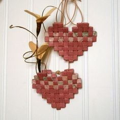 Woven Paper Heart Mini Basket Recycled Paper in by BlueTangDesigns
