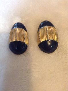 Vintage Gold And Black Earrings #1317