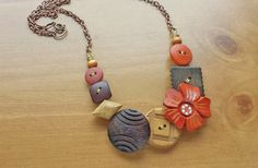 Chunky Wooden Vintage Buttons Necklace, Natural Brown and Burnt Orange Colors, Fun Flower Button Necklace