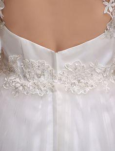 Vestido de noiva Rendas Halter querida A linha Beading tule