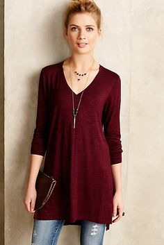 Love this color and the tunic length. Casual but still stylish.