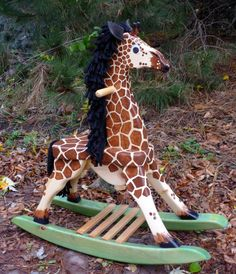 Woodworking Plans for a Rocking Giraffe for Toddlers by GMBToys Learn Woodworking, Woodworking Furniture, Woodworking Plans, Woodworking Projects, Furniture Plans, Rocking Horse Plans, Rocking Horses, Toy Workshop, Used Power Tools