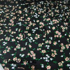 Small Floral Print Real Silk Fabric Black Crepe de Chine Fabrics for Shirt Width 53 inch Printed Silk Fabric, Silk Chiffon Fabric, Georgette Fabric, Silk Charmeuse, Sewing Patterns Free, Free Sewing, Cross Stitch Thread, Mulberry Silk