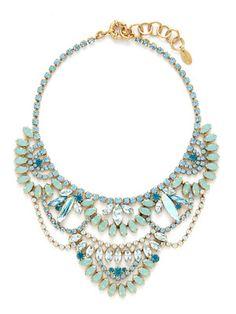 Elizabeth Cole Crystal Multi-Tier Bib Necklace