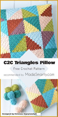 C2C Pastel Triangles Pillow - Free Pattern #crochet #throwpillow #homedecorideas #freecrochetpattern #diy