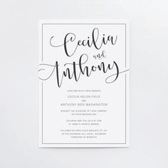 Marlowe Classic Calligraphy Wedding Invitation Set - wedding stationery