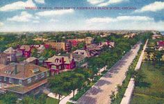 Remember when Sheridan Road was a quiet tree-lined street graced with lovely mansions? The view from the top of the Edgewater Beach hotel was green and peaceful. Image courtesy CRCC collection.