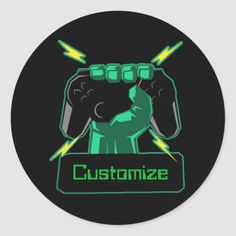 Shop Personalized Power Gamer Classic Round Sticker created by ManCavePortal. Pvp, World Of Warcraft, Round Stickers, Custom Stickers, Portal, Colorful Backgrounds, I Shop, Games, Classic