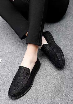 Black crocodile pattern leather slip on shoe loafer 2028 Mens Slip On Loafers, Mens Slip On Shoes, Black Slip On Shoes, Leather Slip On Shoes, Crocodile Skin, Shoe Shop, Loafer Shoes, Shoes Online, Slippers