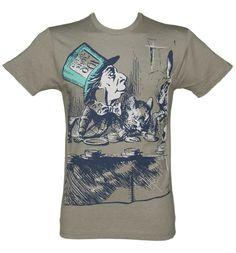 Mens Grey Marl Alice In Wonderland Mad Hatter Sketch T-Shirt