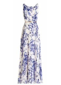 Blue Floral Print Ruffle Silver Belt Chiffon Casual Fashion Maxi Dress - Maxi Dresses - Dresses
