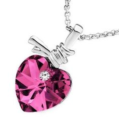Pugster Heart Pink Peach October Birthstone Rose Swarovski Crystal Pendant Necklace For Women   $22.99