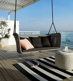 Create a stylish outdoor space. With colorful outdoor chairs and tables, understated seating and consoles, our modern outdoor furniture makes alfresco entertaining simple. Modern Porch Swings, Modern Outdoor Furniture, Modern Patio, Outdoor Rooms, Outdoor Living, Rustic Furniture, Outdoor Ideas, Painted Furniture, Outdoor Projects