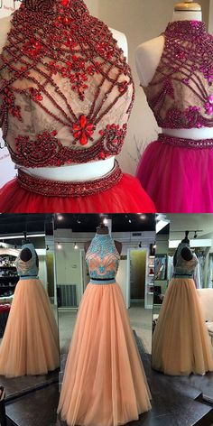 http://www.dressywomen.com/hot-selling-two-piece-prom-dress-high-neck-champagne-with-rhinestone.html Two Piece Prom Dress, Tulle Prom Dress, Champagne Prom Gown, New Arrival Prom Dress, Backless Prom Gown
