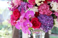 HEPATICA wedding florals (mokara orchid, peony, roses, hydrangea, phalaenopsis orchid, in vibrant reds, pinks and purple with crystal and gold accents) – photo: QUARTER design studio