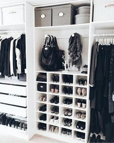 in love | closet organization, walk in closet, pretty, shoe storage, home inspiration, house, living space, room, scandinavian, nordic, inviting, style, comfy, minimalist, minimalism, minimal, simplistic, simple, modern, contemporary, classic, classy, chic, girly, fun, clean aesthetic, bright, white, pursue pretty, style, neutral color palette, inspiration, inspirational, diy ideas, fresh, stylish, 2018, sophisticated