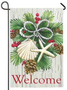 This beach style Season Greetings house flag will either make you wish you were seaside for your Christmas Holiday or make you glad you are. Seashells are cleverly hung with beaded strings as coastal