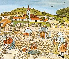 Harvest, painted by Josef Lada Czech painter Illustrations, Children's Book Illustration, Illustration Children, Grandma Moses, Henri Rousseau, Naive Art, Vintage Christmas Cards, Folk Art, Cool Pictures