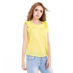 Women's Shirts Sleeveless Lotus Leaf Pullover Lace Bow Chiffon Shirt Tops Summer Spring Blouse White/Yellow/Blue