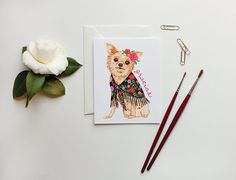 Cute watercolor puppy dog greeting card from Golden Fox Goods via Stationery Trends' Spring Fresh Picks.