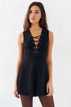 Silence   Noise Lace-Up Sleeveless Romper