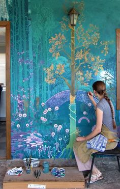 Wall murals painted chinoiserie 43 Ideas for 2019 Art Mural, Wall Murals, Life In Russia, Fantasy Landscape, Fantasy Art, Spring Landscape, Fantasy Forest, Chinoiserie, Oeuvre D'art