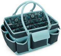 Mackinac Moon > Organizers > Blue Open Top Craft Tote: A Cherry On Top