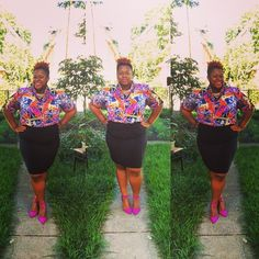 quayla_venezuela's photo on Instagram. Business casual. Thrifted top and shoes. Nine West shoes. Natural hair. Plus size