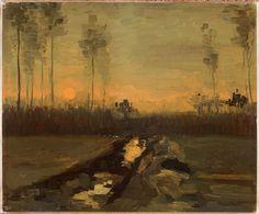 """""""Paesaggio al tramonto"""", tela applicata su cartone, Madrid, Museo Thyssen-Bornemisza, 1885."""