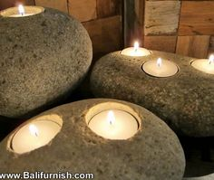 River stone candle holders from bali