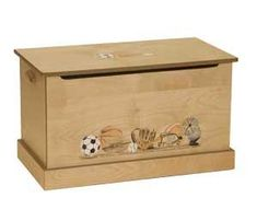 AmishMedium Maple WoodToy Box with Sports Scene Heritage Doll Furniture Collection This medium maple wood toy box will have the sports scene hand-painted on the front.&nb