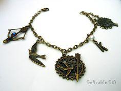Hunger Games Charm Bracelet Mockingjay and Katniss's bow and arrow