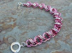 Etsy listing at https://www.etsy.com/listing/110577361/breast-cancer-awareness-chainmaille