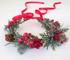 Christmas Flower Crown Holiday Flower Crown by FlowerHungry
