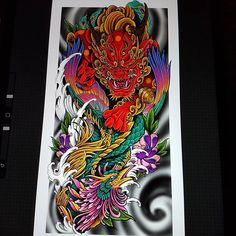A bit of colour planning for a full sleeve I'm working on Dragon Tattoo Colour, Dragon Tattoo Art, Dragon Sleeve Tattoos, Leg Sleeve Tattoo, Dragon Tattoo Designs, Color Tattoo, Japanese Snake Tattoo, Japanese Dragon Tattoos, Japanese Tattoo Designs