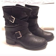 Candies Black Booties Black distressed leather straps with buckles EUC Candie's Shoes Ankle Boots & Booties