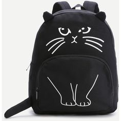 Black Cat Pattern Cute Backpack ($24) ❤ liked on Polyvore featuring bags, backpacks, black, handle bag, cat bag, daypack bag, backpack bags and strap bag