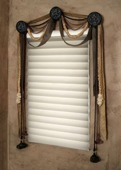 Unusual valance made of cords, silk lengths and tassels for a powder room. Swag Curtains, Closet Curtains, Ceiling Curtains, Unusual Bathrooms, Drapery Designs, Beautiful Curtains, Custom Window Treatments, Window Styles, Windows